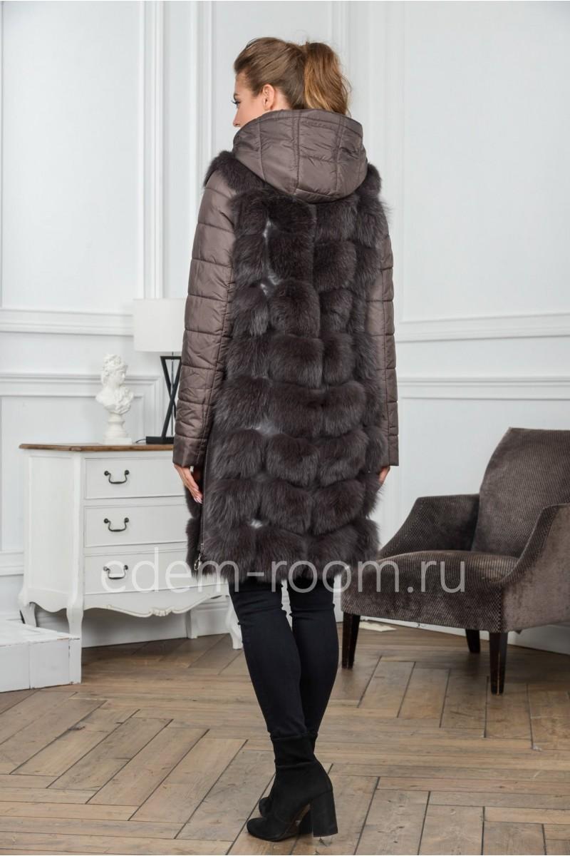 Меховая куртка - жилетка из песца
