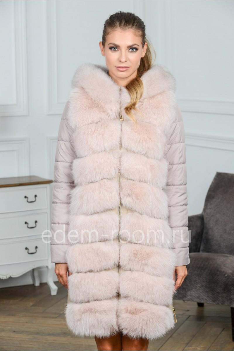 Зимняя куртка - пальто из меха песца