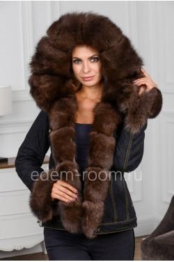 Джинсовая куртка для весны и осени с меховым капюшоном