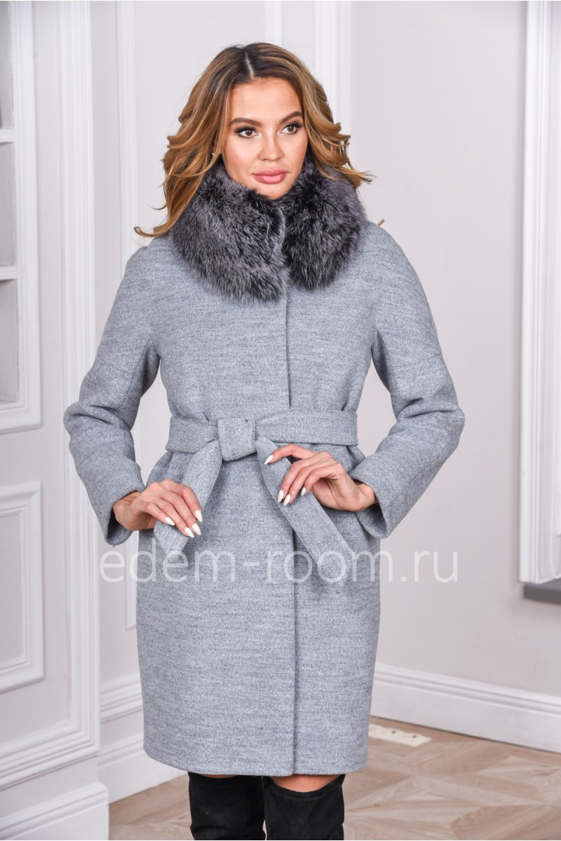 Зимнее пальто под пояс