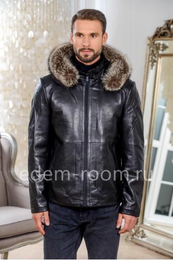 Куртка кожаная с подкладкой из овчины с капюшоном