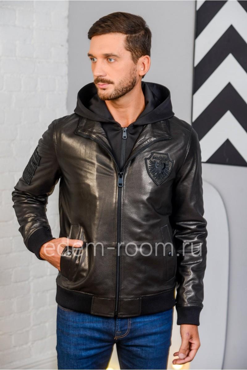 Стильная куртка из натуральной кожи черная. Молодежная.