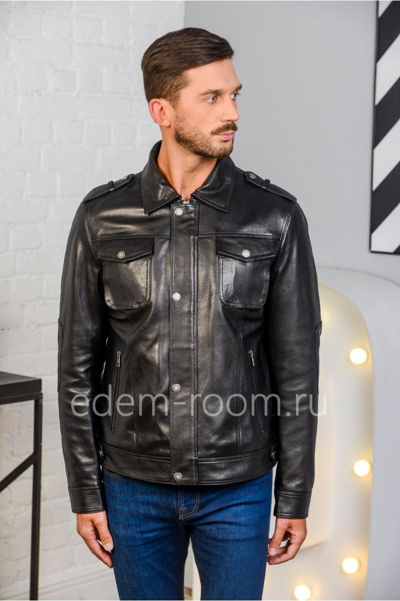 Черная куртка на кнопках из натуральной кожи. Недорого