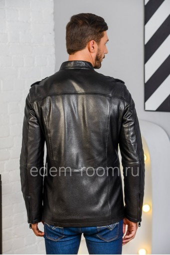Куртка из натуральной кожи черного цвета - Весна 2020