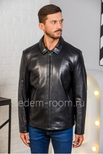 Куртка из натуральной кожи на молнии, черная