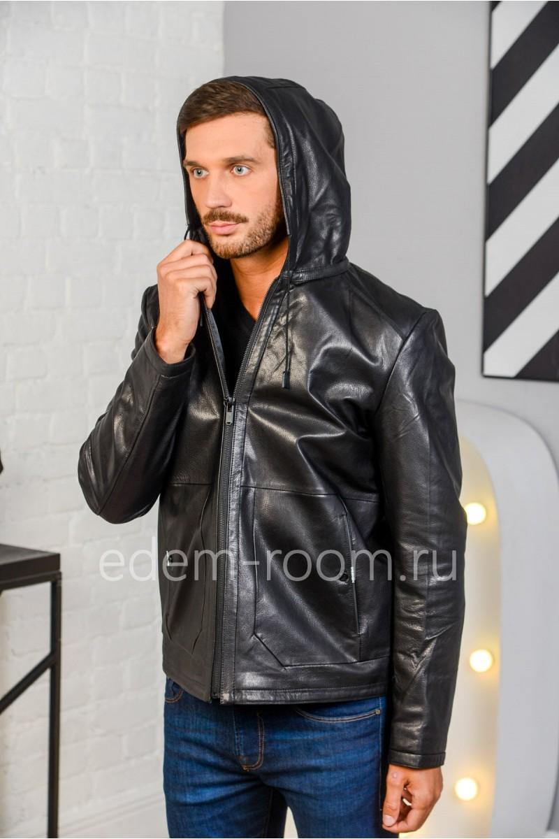 Осенне - весенняя куртка из натуральной кожи черного цвета. Молодежная