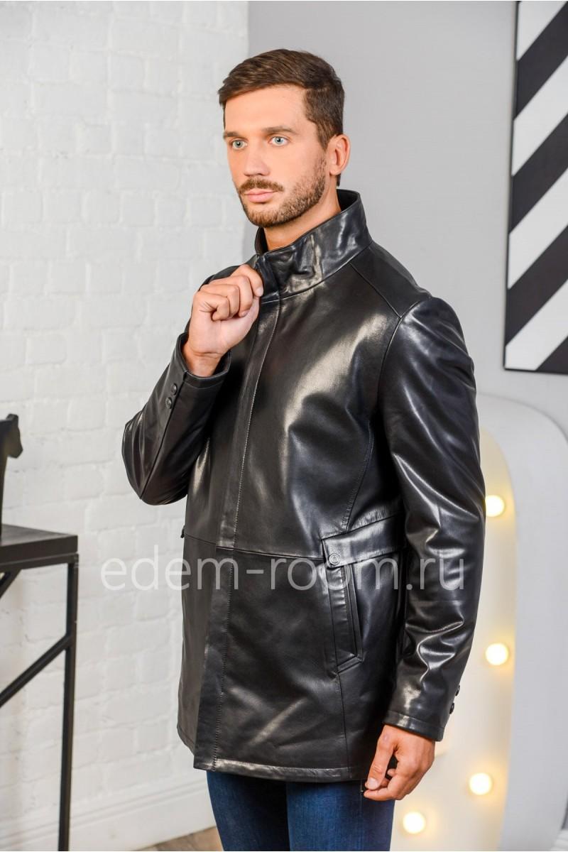 Кожаный пиджак черного цвета