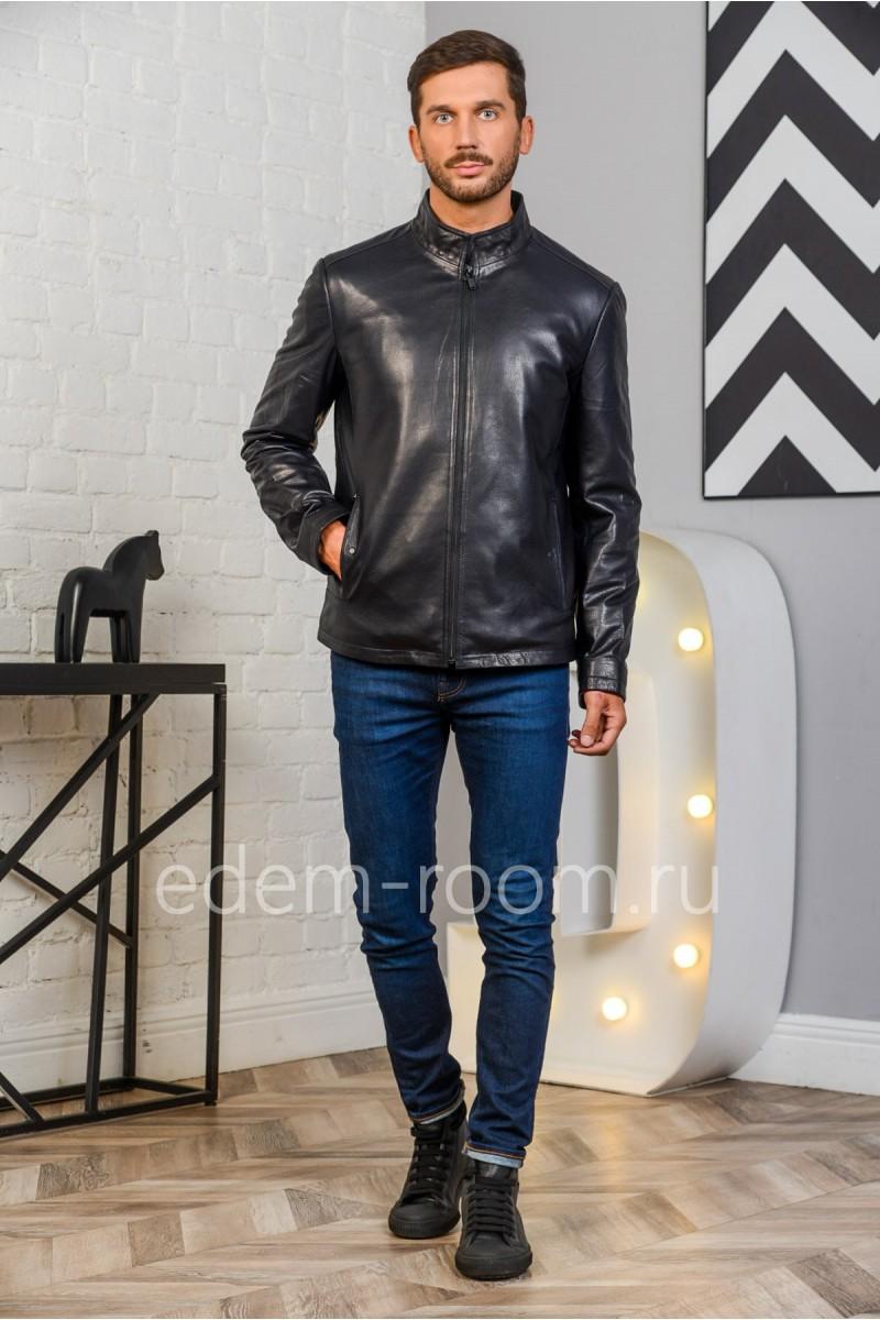 Недорогая синяя куртка из натуральной кожи
