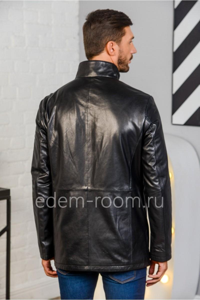 Удлинённая куртка из натуральной кожи черная, молодежная. Недорого