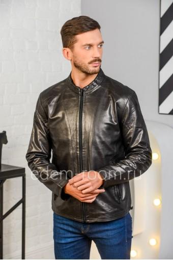 Куртка из натуральной кожи на весну и осень 2020, черный цвет
