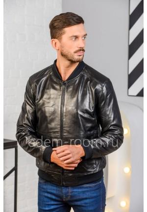 Дешевая кожаная куртка на резинке. Натуральная кожа