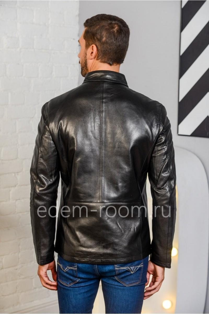 Классическая куртка из натуральной кожи на молнии, черная