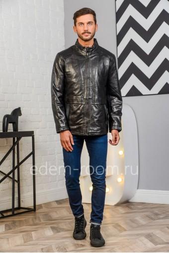 Дешевая куртка из натуральной кожи - весна/осень 2020, черный цвет