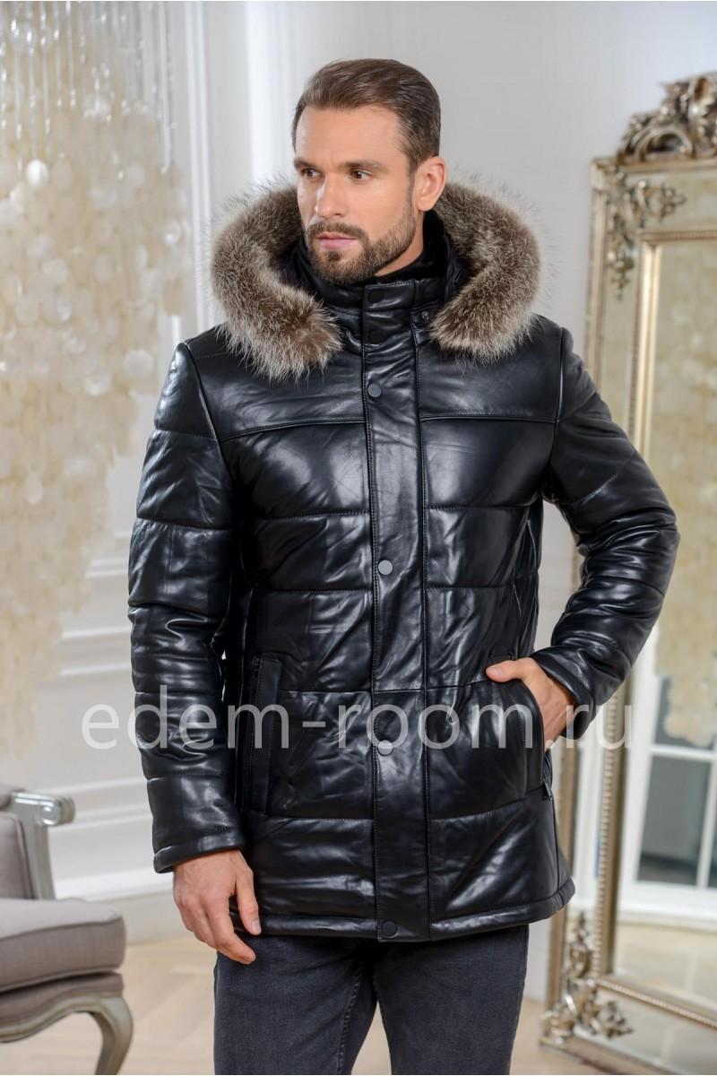 Мужская куртка из кожи с мехом