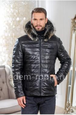 Теплая кожаная куртка для мужчин