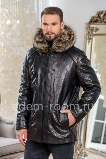 Мужская кожаная куртка для зимы