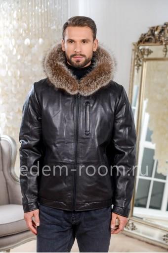 Зимняя мужская кожаная куртка -бомбер