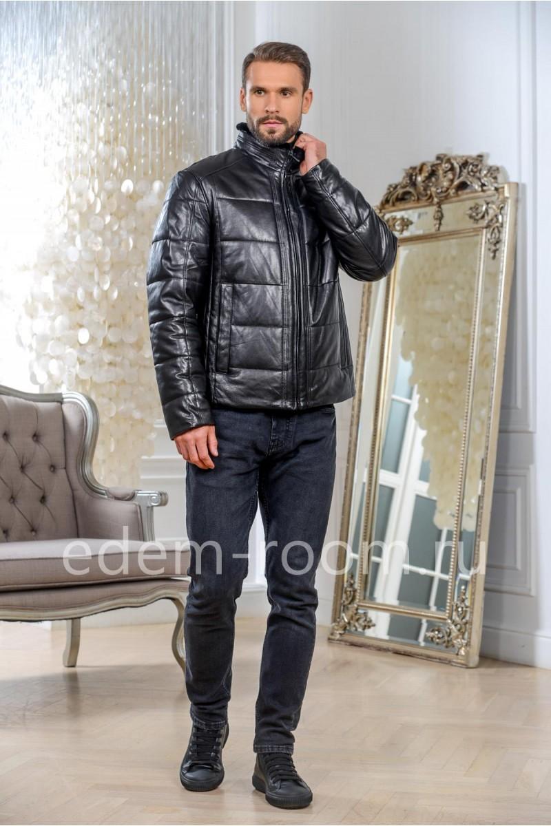 Зимняя кожаная куртка на молнии