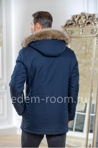 Синяя тканевая мужская куртка для зимы
