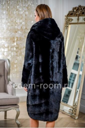 Черная норковая шуба с капюшоном, удлиненная