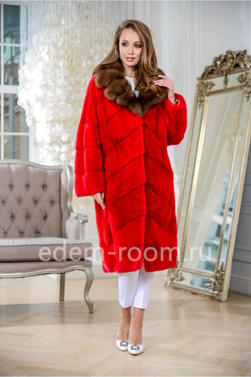 Красная шуба из импортного меха норки, удлиненная