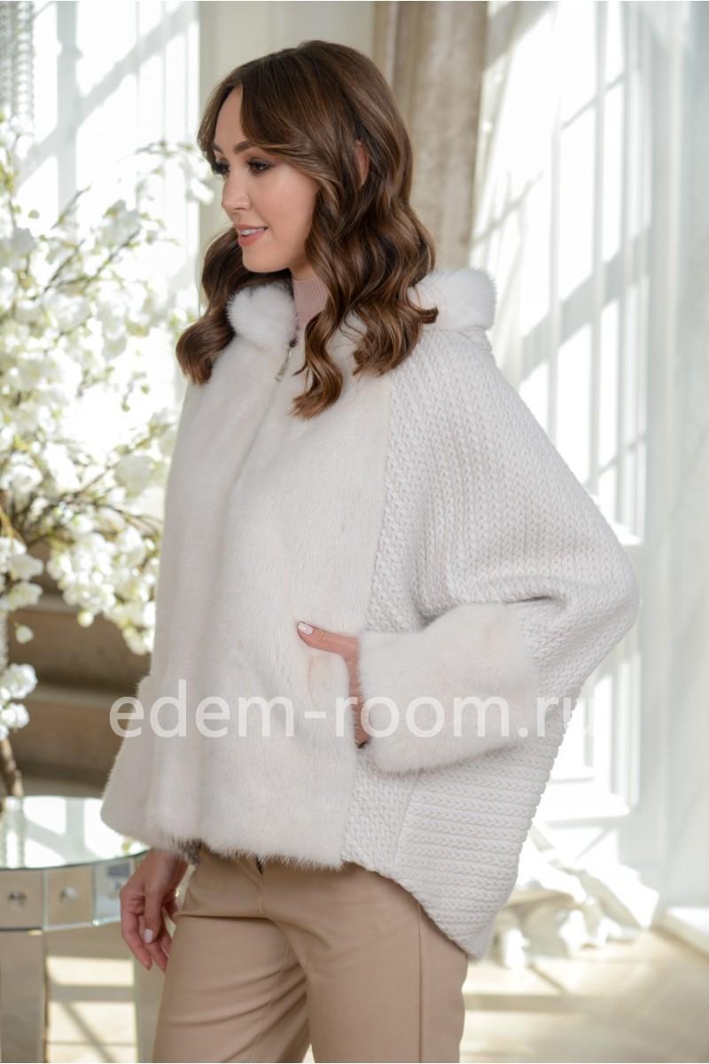 Светлая куртка Автоледи из меха норки с капюшоном, короткая