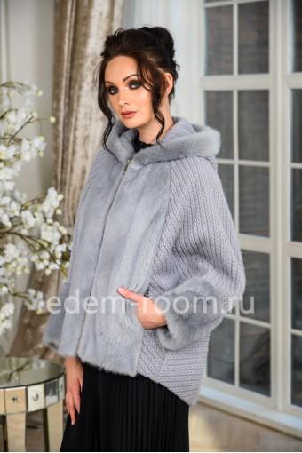 Норковая куртка с капюшоном, короткого фасона