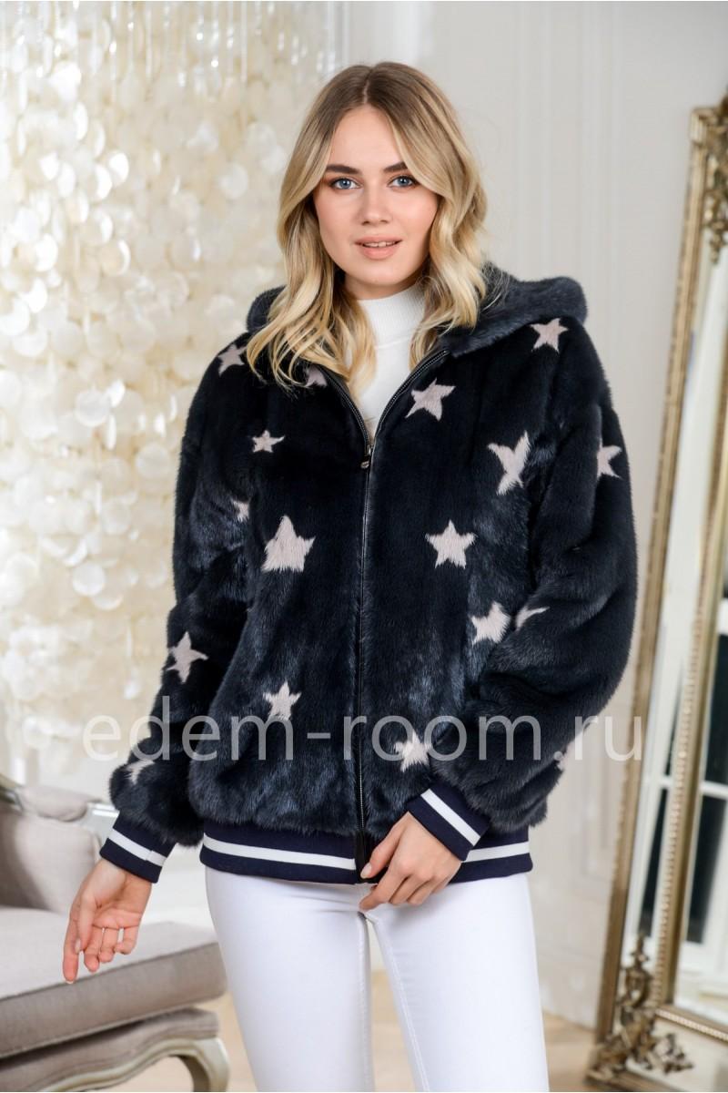Куртка из плюшевой норки  - бомбер