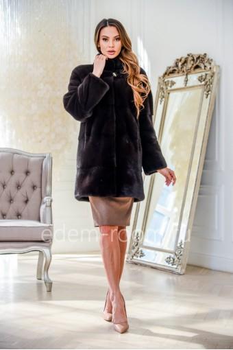 Норковая укороченная шуба - воротник стойка, черный цвет