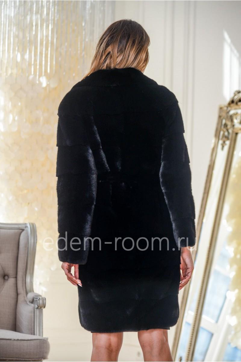 Норковая шуба из импортной норки черного цвета
