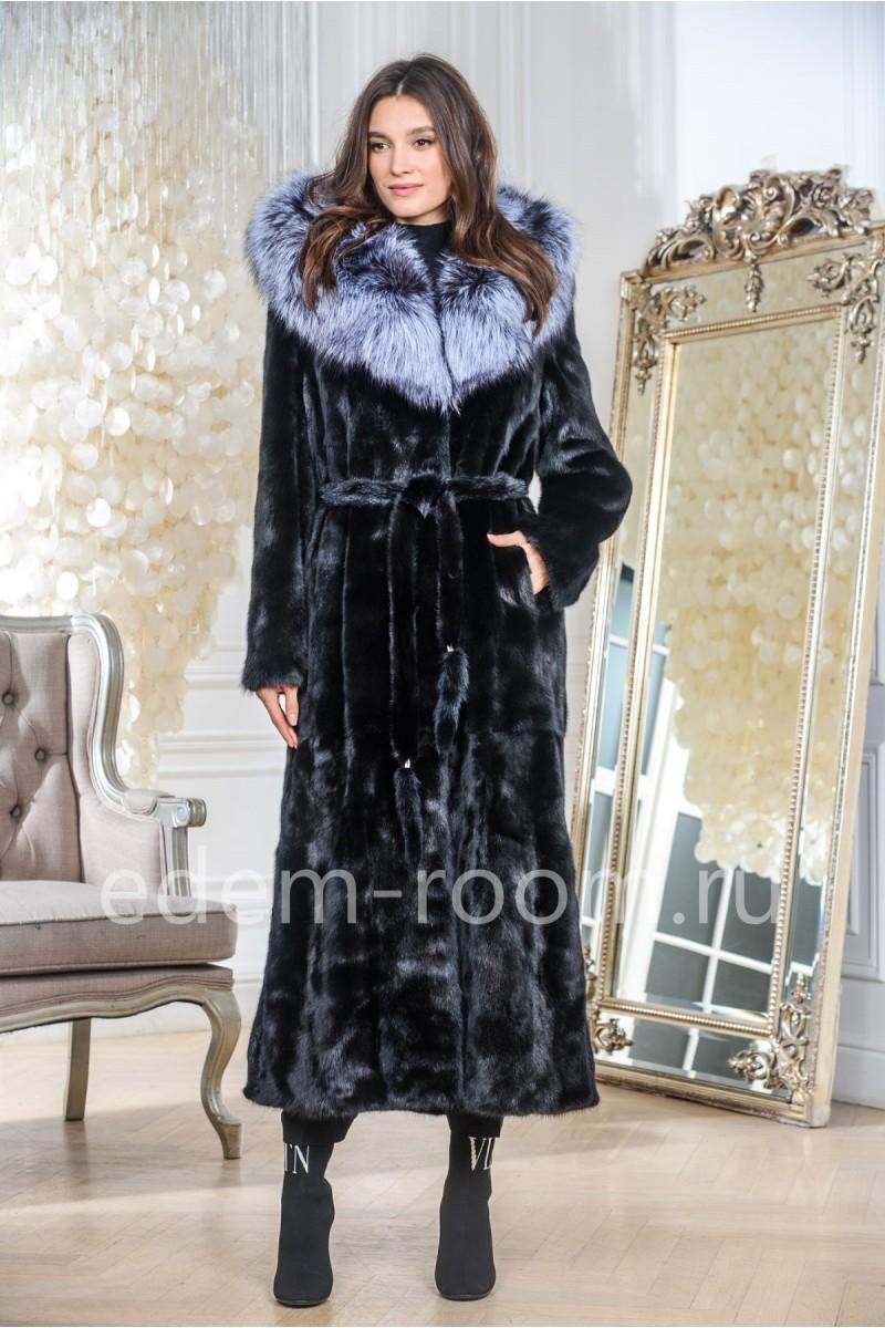 Удлинённая норковая шуба под пояс, черный цвет