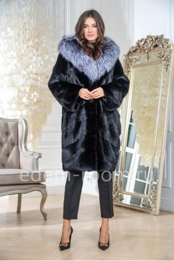 Современная норковая шуба с капюшоном из чернобурки, черный цвет