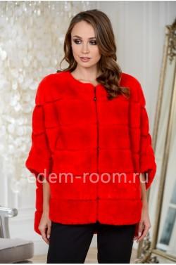 Красная кофта на молнии из кролика рекс