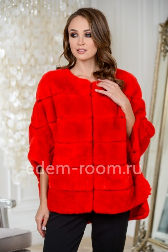 Красная куртка-пончо на молнии из кролика рекс