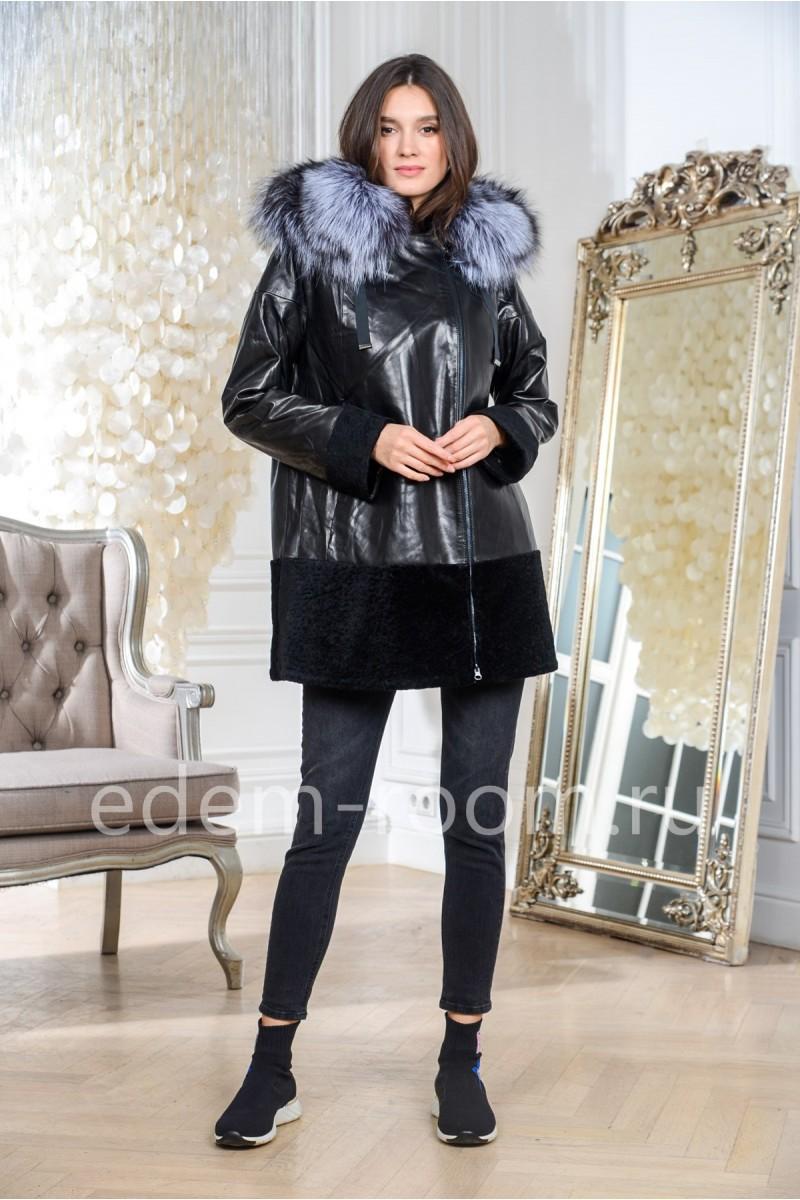 Демисезонная кожаная куртка на большие размеры