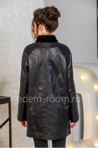 Кожаная куртка с утеплителем для больших размеров