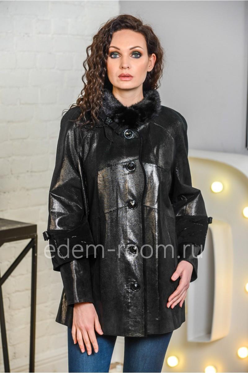 Весенняя кожаная куртка для больших размеров