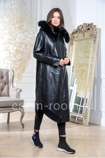 Удлинённое кожаное пальто на тинсулейте