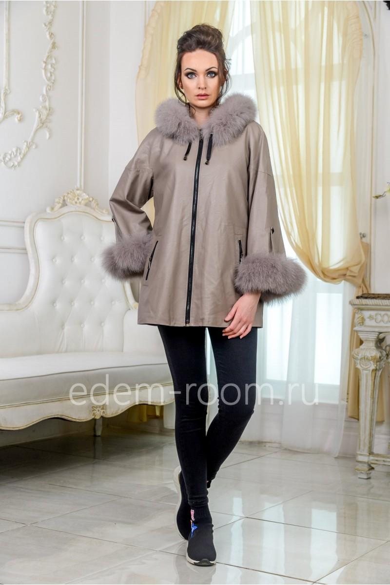 Куртка из эко-кожи с мехом