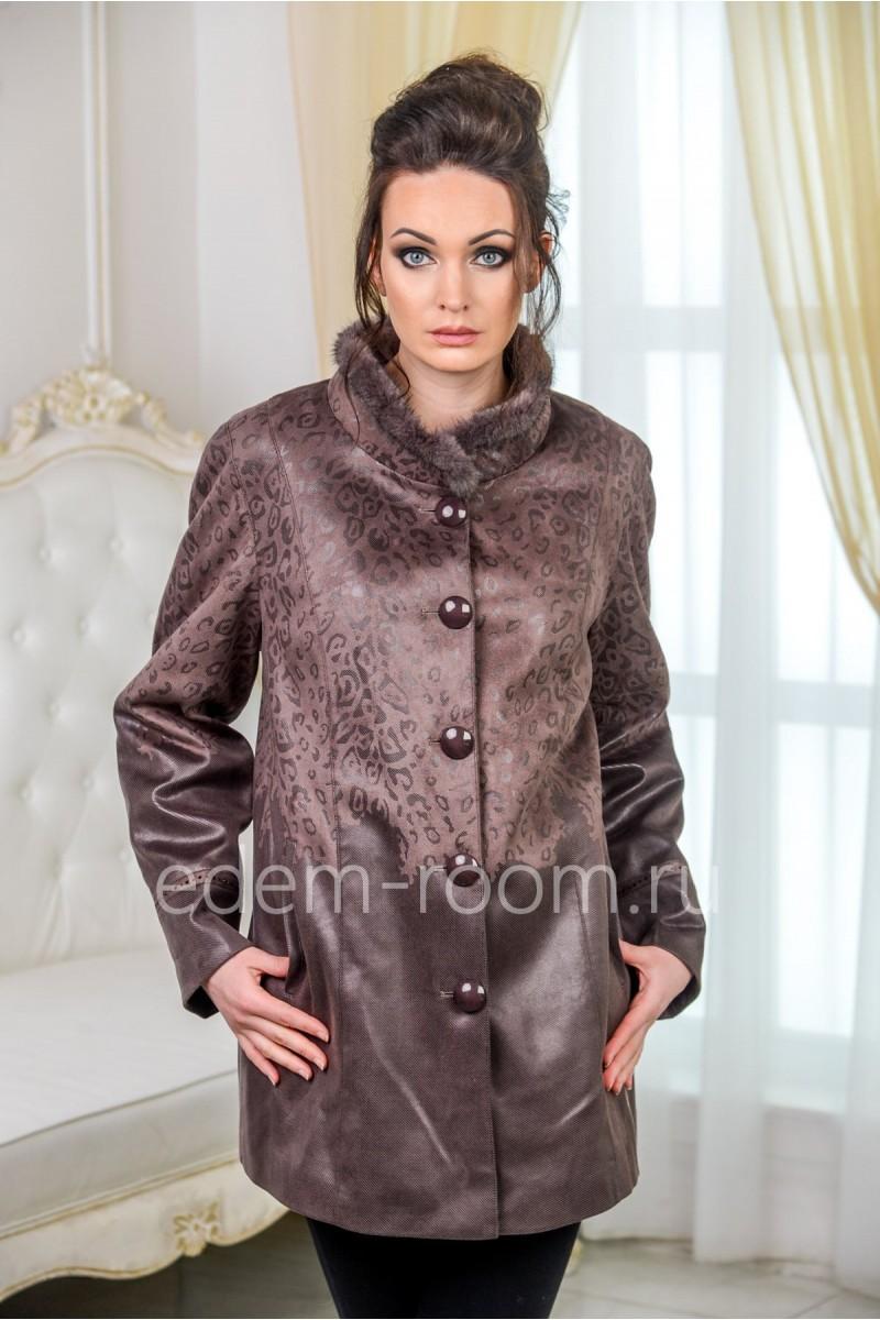 Демисезонная куртка из экозамши для больших размеров
