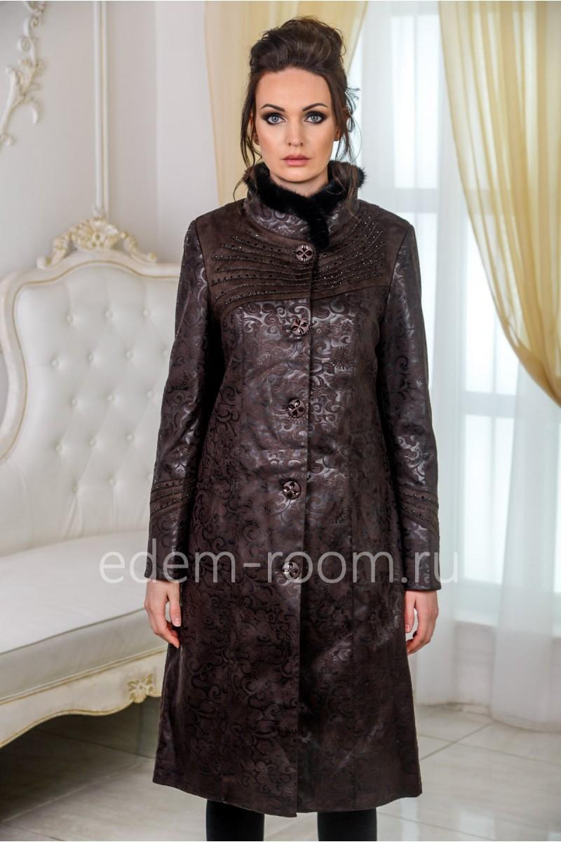 Демисезонный пальто из искусственной замши