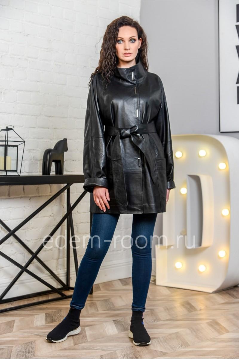 Чёрная куртка из кожи