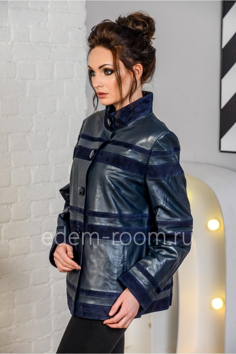 Синяя кожаная куртка для больших размеров