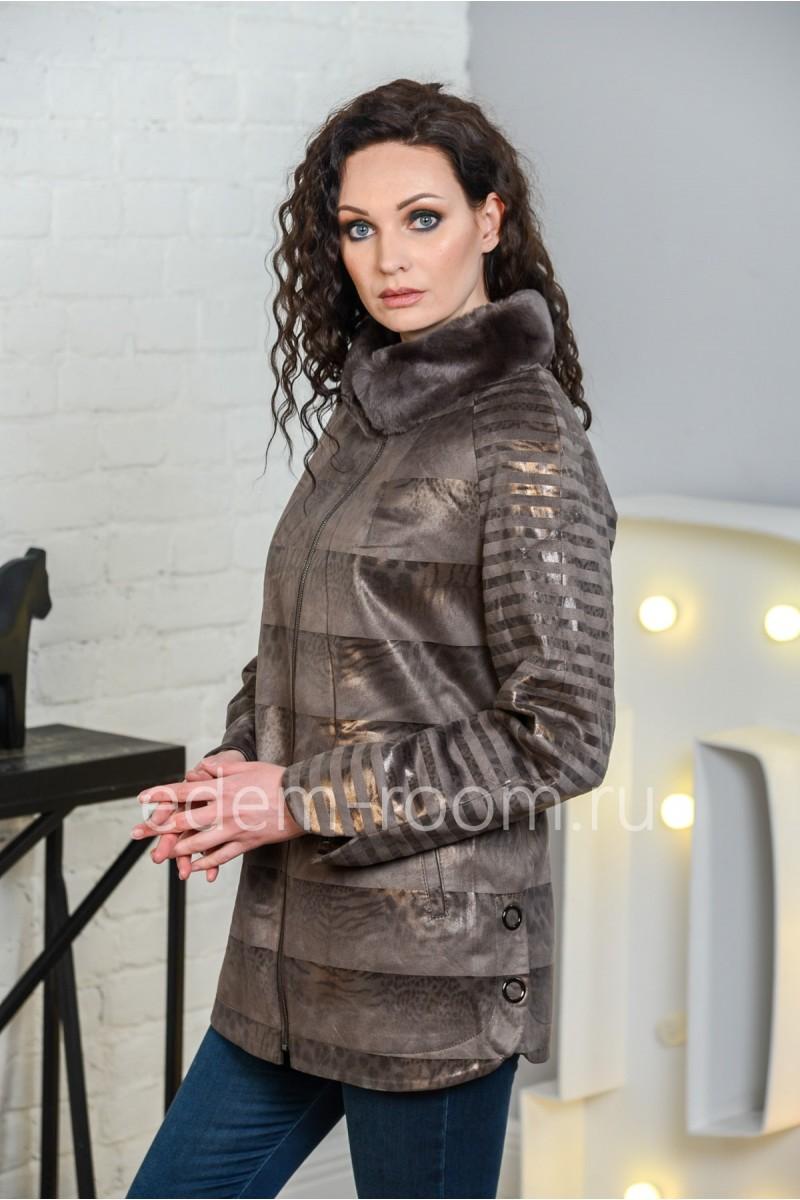 Женская куртка из искусственной замши