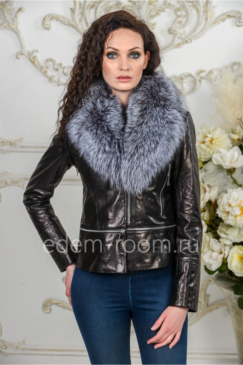Осенне- весенняя кожаная куртка с мехом