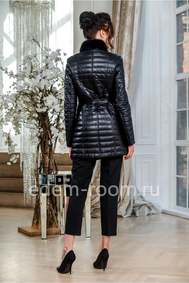 Кожаная куртка - воротник норка