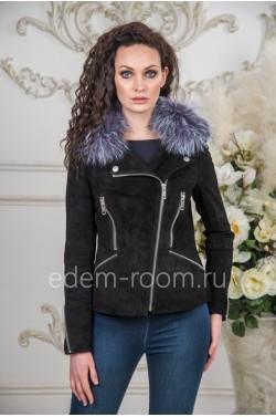 Замшевая куртка со съёмных меховым воротником