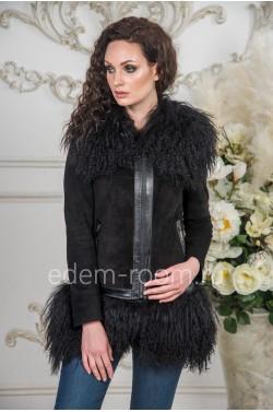 Демисезонная куртка из кожи и меха ламы