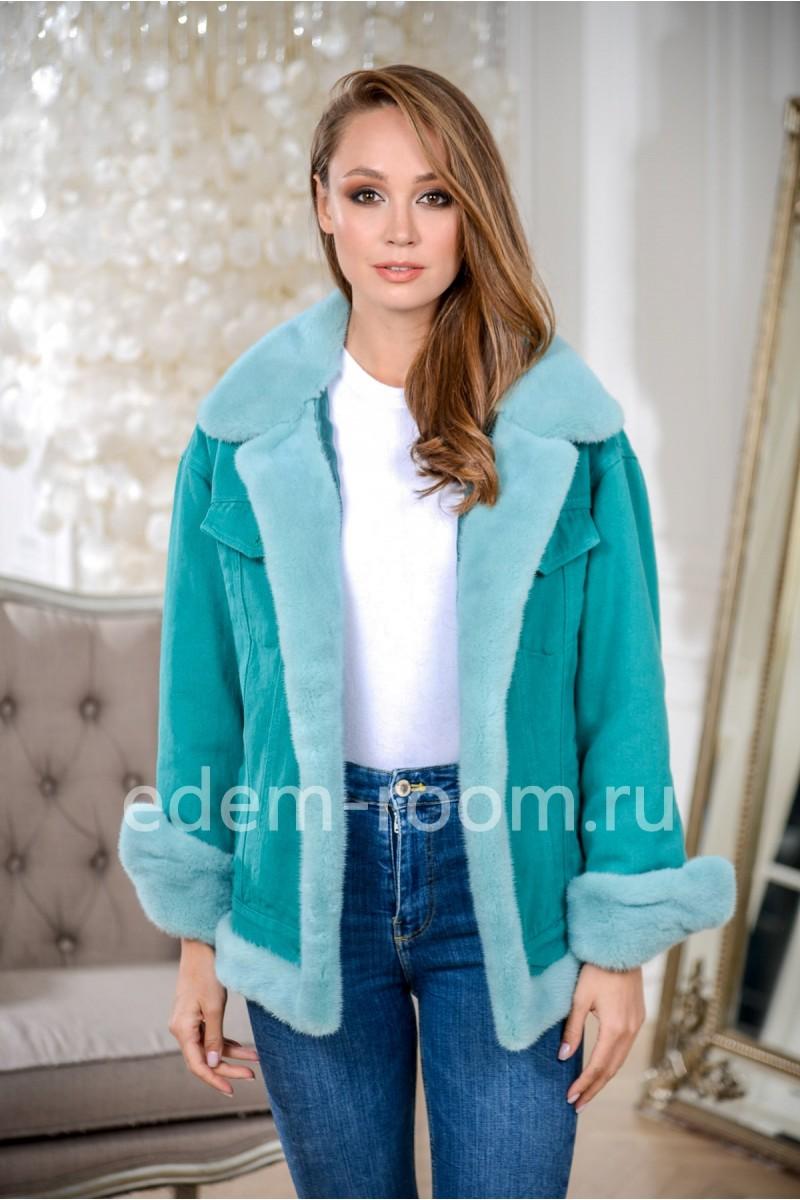 Куртка джинсовая с мехом норки бирюзовая
