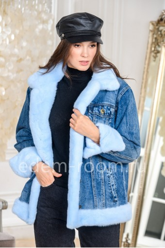 Куртка джинсовая с норковым мехом